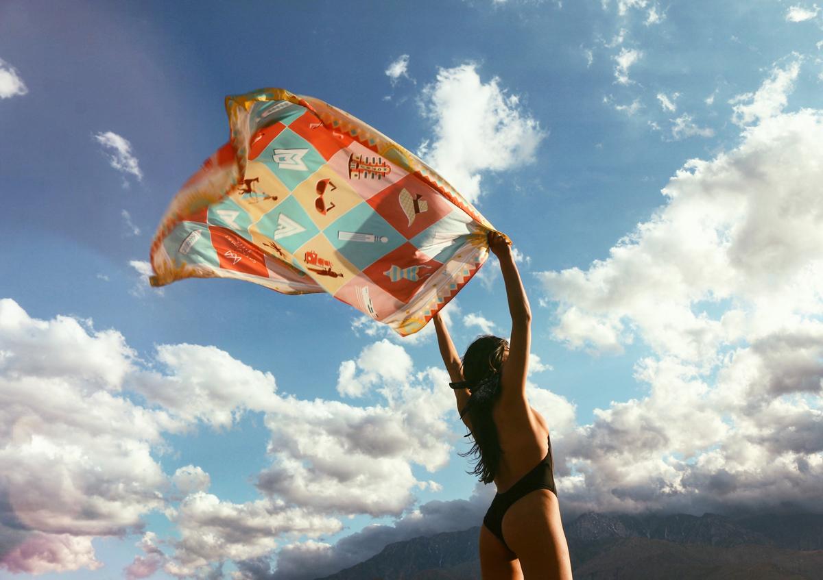 silk scarves in the desert