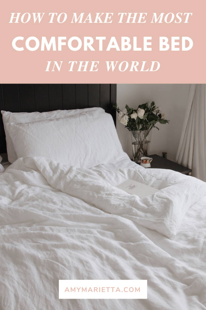 How To Create The Most Comfortable Bed In The World - Amy Marietta - Kassatex Bamboo Linen Bedding & Buffy Cloud Comforter